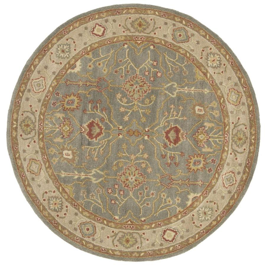 Safavieh Antiquity Heghan 8 X 8 Blue Ivory Round Indoor Floral Botanical Vintage Handcrafted Area Rug In The Rugs Department At Lowes Com