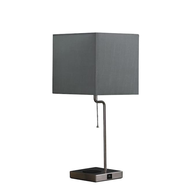 Ore International Aston 21 5 In Silver Table Lamp With Linen Shade In The Table Lamps Department At Lowes Com