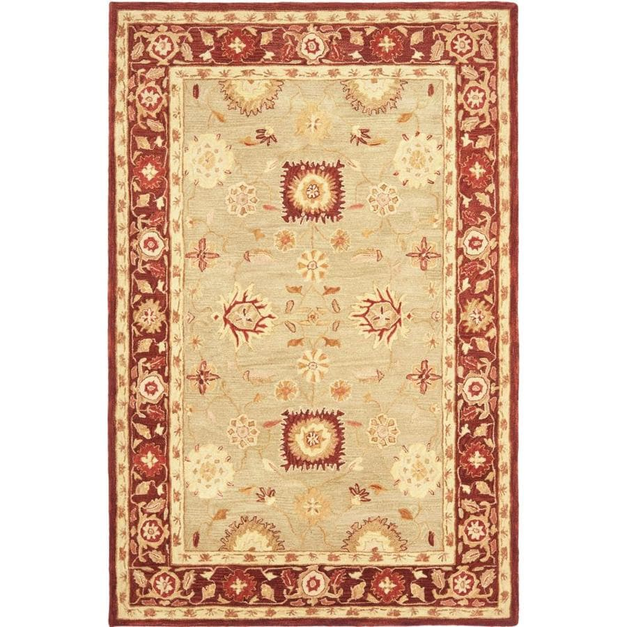 Safavieh Anatolia Catal 6 X 9 Sage Burgundy Floral Botanical Vintage Handcrafted Area Rug In The Rugs Department At Lowes Com