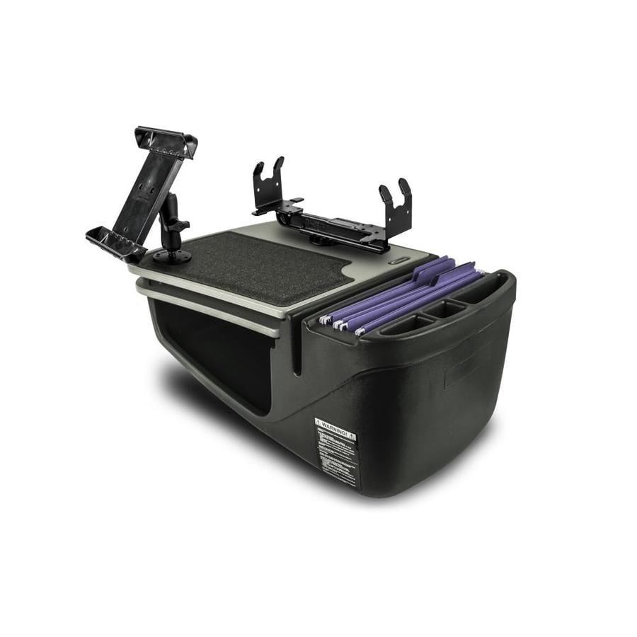 AutoExec AUE18175 GripMaster Car Desk Grey Finish with Built-in 200 Watt Power Inverter Printer Stand and Tablet Mount