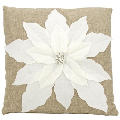 Mina Victory Mina Victory Poinsettia White Christmas Throw Pillow by Lowe's
