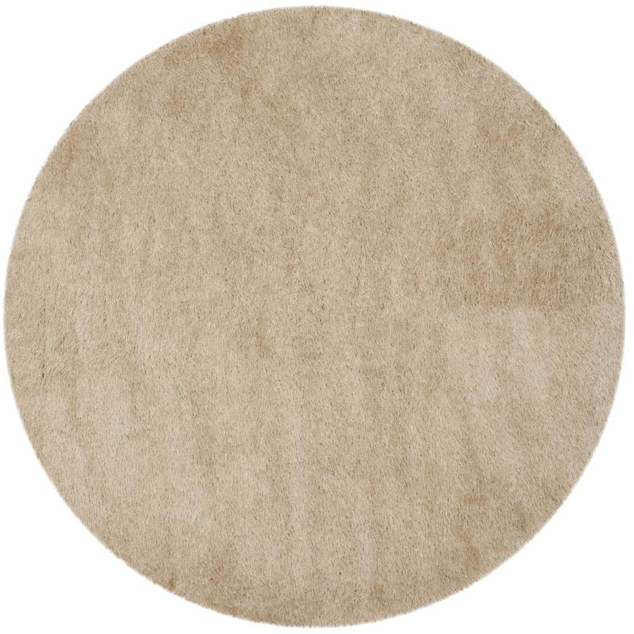 Safavieh Venice Shag 8 X 8 Champagne Round Indoor Solid Handcrafted Area Rug In The Rugs Department At Lowes Com