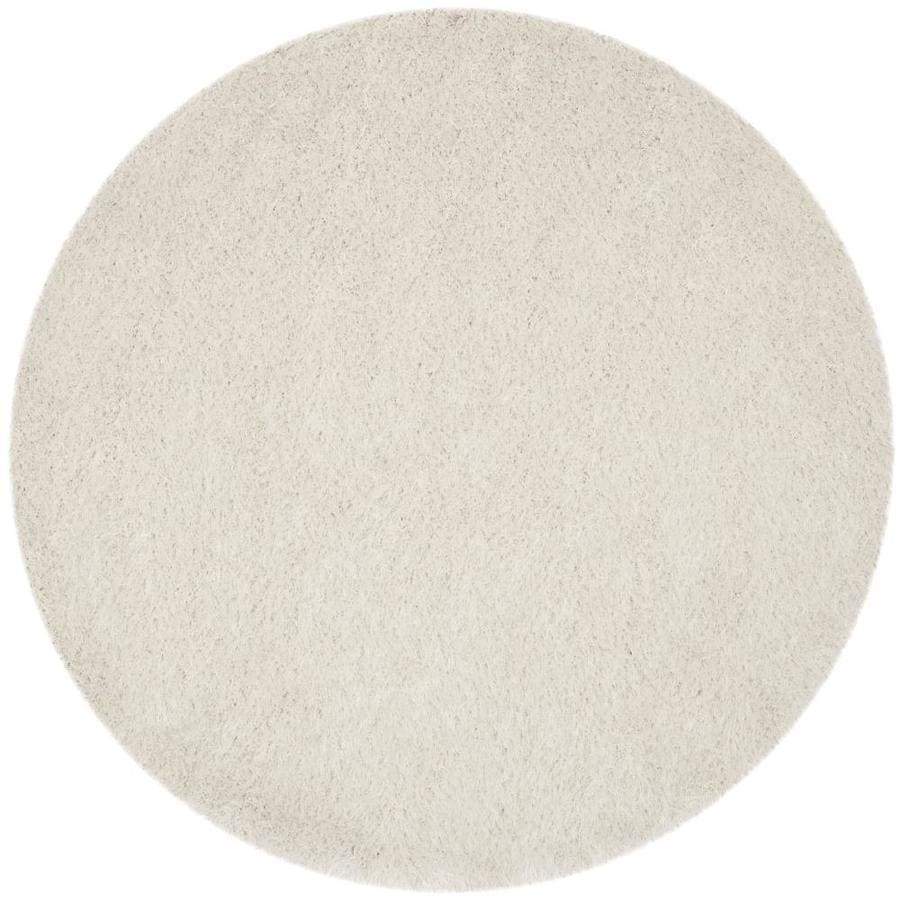 Safavieh Venice Shag 6 X 6 Pearl Round Indoor Solid Handcrafted Area Rug In The Rugs Department At Lowes Com