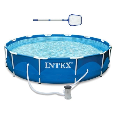 Intex 12 Ft X 12 Ft X 30 In Round Above Ground Pool At Lowes Com