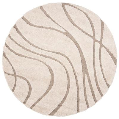 Cream Beige Round Indoor Area Rug