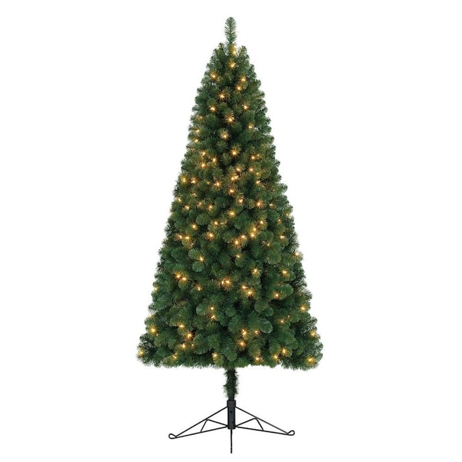 Home Heritage 7-ft Pre-Lit Pine Slim Artificial Christmas ...