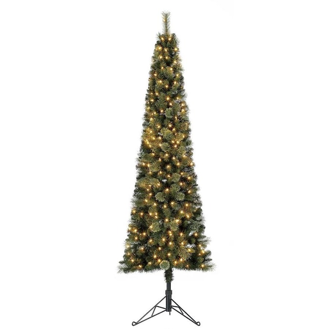 Home Heritage 7 Ft Cashmere Pine Pre Lit Traditional Slim Artificial Christmas Tree With 150 Constant Warm White Led Lights In The Artificial Christmas Trees Department At Lowes Com