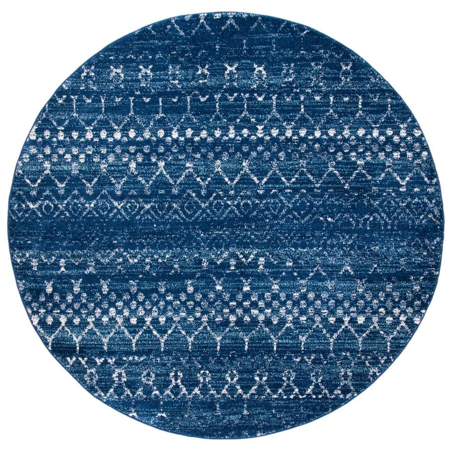 Safavieh Tulum Belen 7 X 7 Blue Ivory Round Indoor Abstract Moroccan Area Rug In The Rugs Department At Lowes Com