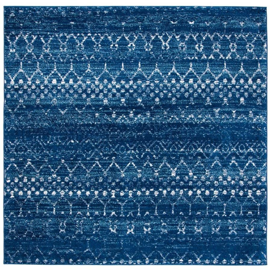 Safavieh Tulum Belen 7 X 7 Blue Ivory Square Abstract Moroccan Area Rug In The Rugs Department At Lowes Com