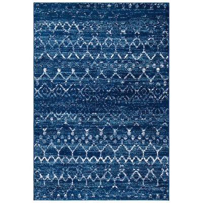 Safavieh Tulum Belen 8 X 10 Blue Ivory Indoor Abstract Moroccan Area Rug In The Rugs Department At Lowes Com