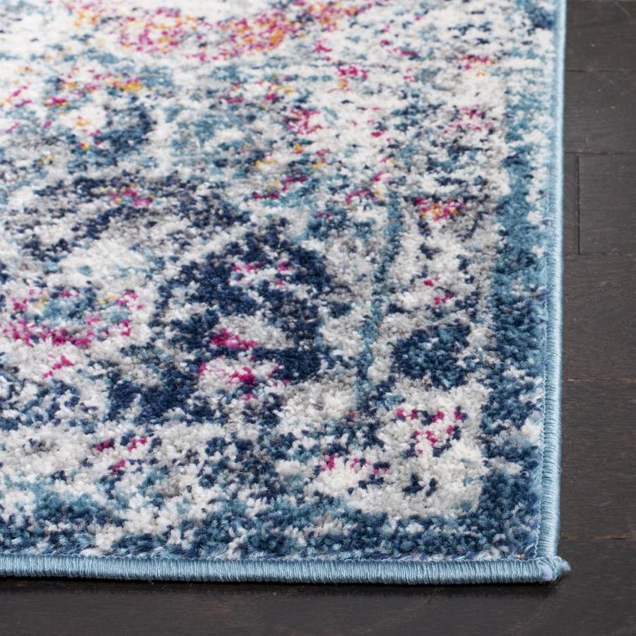 Safavieh Madison Lyton 5 X 5 Navy Teal Round Indoor Distressed Overdyed Vintage Area Rug In The Rugs Department At Lowes Com