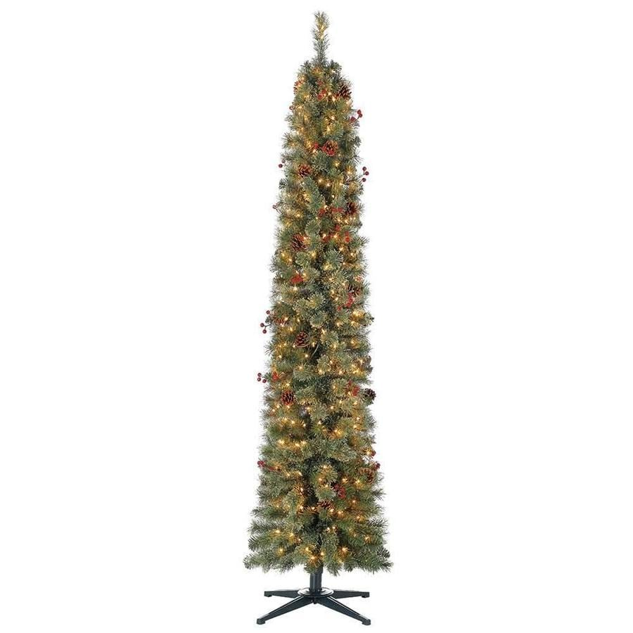 home heritage 7 ft pencil pine pre lit traditional slim artificial christmas tree with 350 constant white clear incandescent lights in the artificial christmas trees department at lowes com