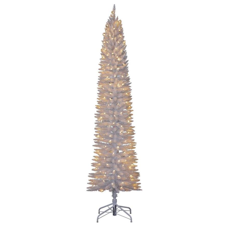 home heritage 7 ft pencil pine pre lit traditional slim white artificial christmas tree with 150 constant warm white led lights in the artificial christmas trees department at lowes com