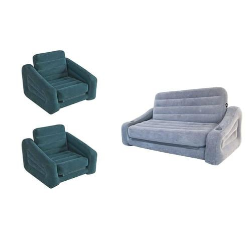 Intex Inflatable Pull Out Sofa Queen Air Mattress And Chair Bed Sleeper 2 Pack At Lowes Com