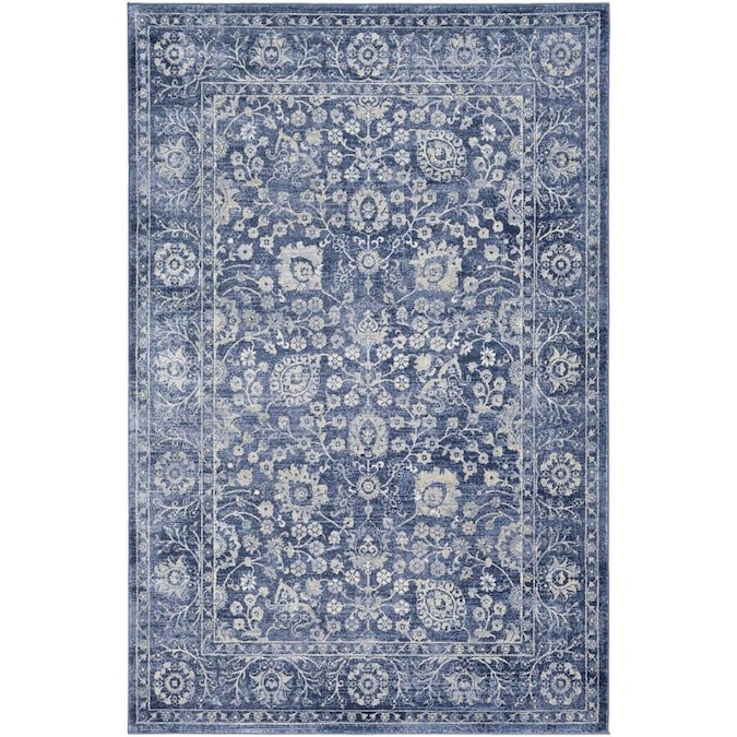 Surya Indigo 5 X 8 Navy Blue Indoor Distressed Overdyed Oriental Area Rug In The Rugs Department At Lowes Com