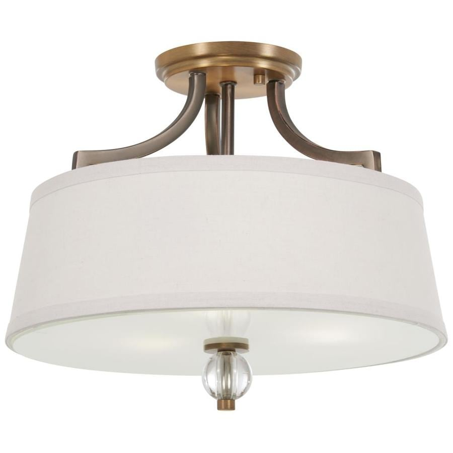 Minka Lavery Safra 15 In Harvard Court Bronze With Natural Brushed Brass Transitional Incandescent Semi Flush Mount Light In The Flush Mount Lighting Department At Lowes Com