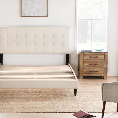 Wood Slats Headboard Square Upholstered