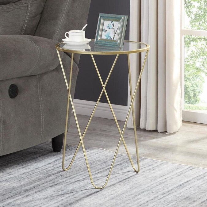 Firstime Firstime And Co Gold Glass End Table In The End Tables Department At Lowes Com