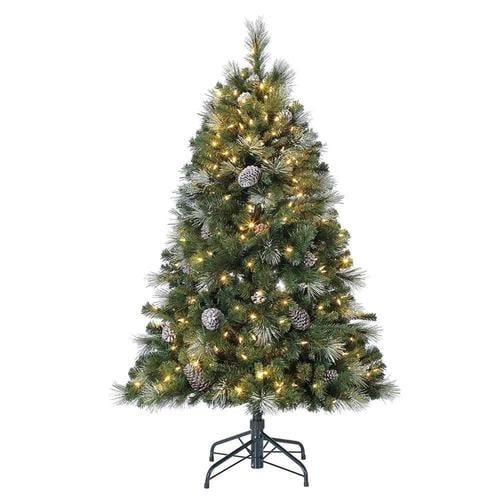 Home Heritage 5-ft Pre-Lit Pine Artificial Christmas Tree ...