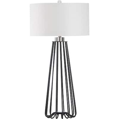 Safavieh Estill 34 In Black Fluorescent Rotary Socket Table Lamp With Fabric Shade by Lowe's