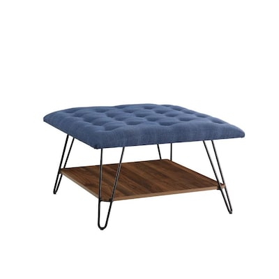 Terrific Walker Edison Midcentury Blue Storage Ottoman At Lowes Com Gmtry Best Dining Table And Chair Ideas Images Gmtryco