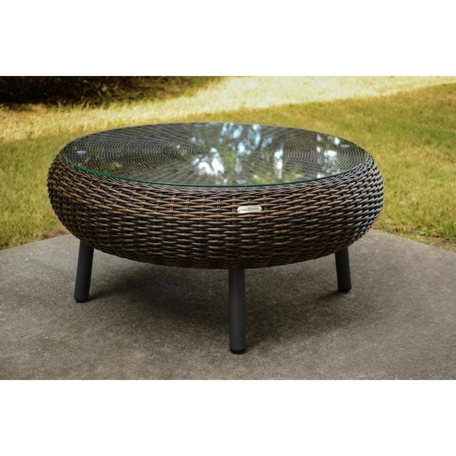 Tortuga Outdoor Outdoor Wicker Round Woven Outdoor Coffee Table 12-in W x  12-in L
