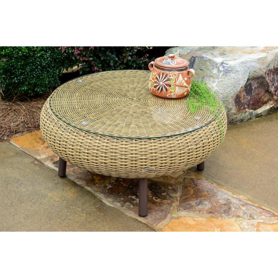 - Tortuga Outdoor Outdoor Wicker Round Woven Outdoor Coffee Table 34