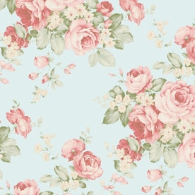 Fiore Red Coral Green Beige Floral Galerie Wallpaper Watercolours Textured Vinyl