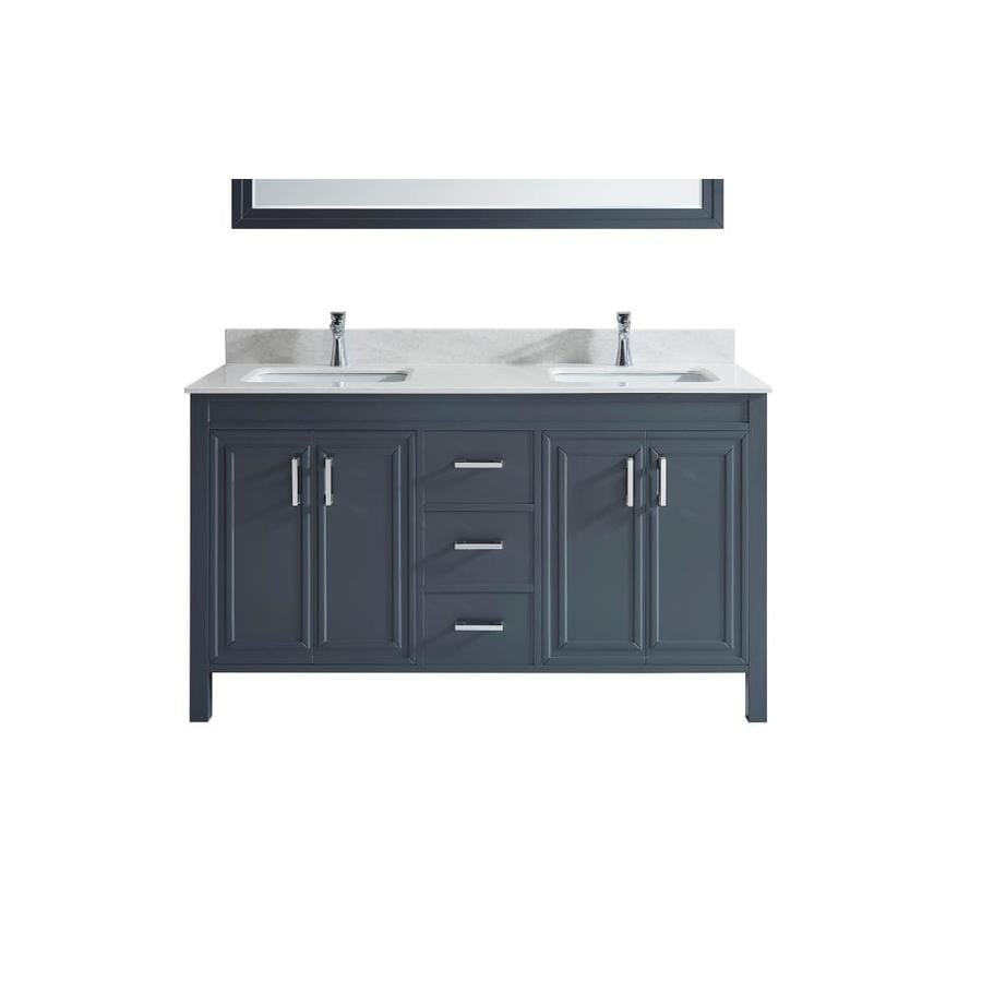 Spa Bathe Cora 60 In Pepper Gray Undermount Double Sink Bathroom Vanity With White With Grey Veins Engineered Stone Top In The Bathroom Vanities With Tops Department At Lowes Com