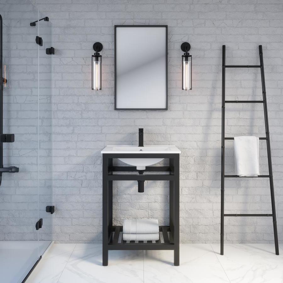 Spa Bathe Metalim 24 In Matte Black Drop In Single Sink Bathroom Vanity With White Ceramic Top In The Bathroom Vanities With Tops Department At Lowes Com