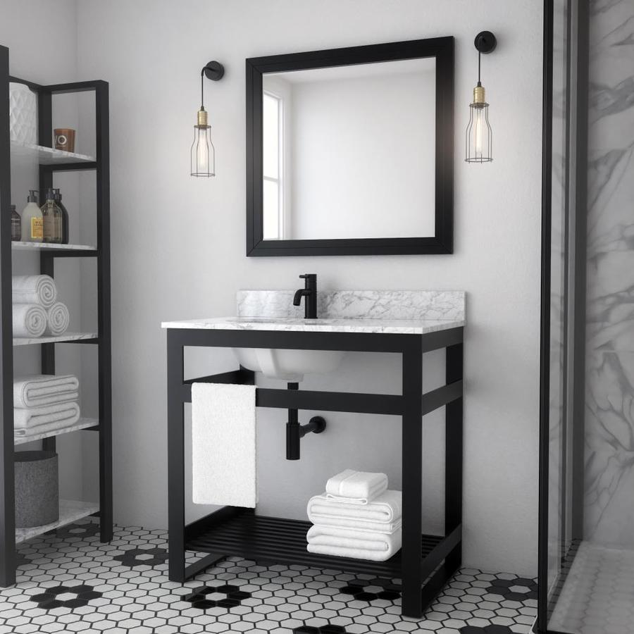 Spa Bathe Metalim 36 In Matte Black Drop In Single Sink Bathroom Vanity With White Ceramic Top In The Bathroom Vanities With Tops Department At Lowes Com