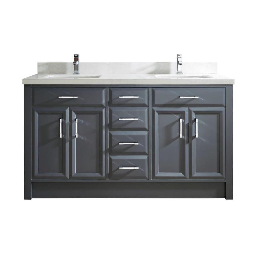 Spa Bathe Calumet 63 In Pepper Gray Double Sink Bathroom Vanity With White With Grey Veins Engineered Stone Top In The Bathroom Vanities With Tops Department At Lowes Com