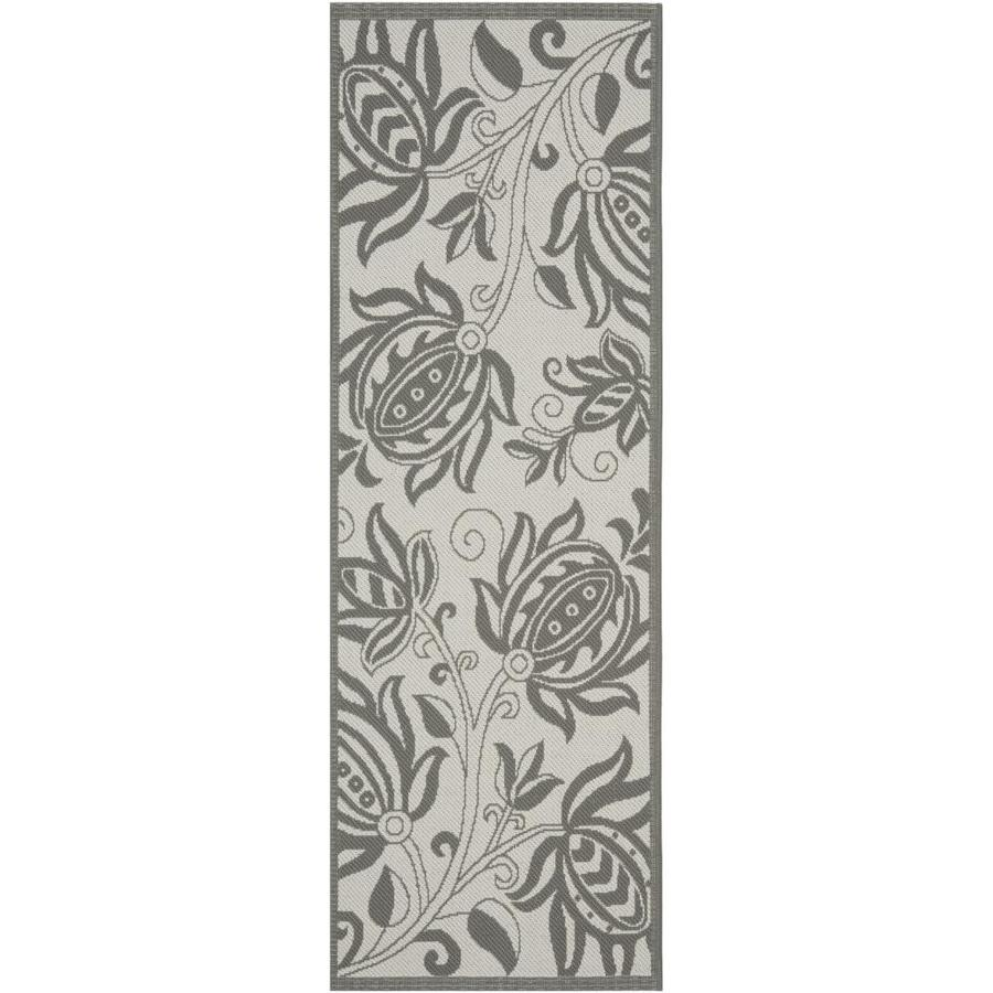 Safavieh Courtyard Joulter 2 X 10 Light Gray Anthracite Indoor Outdoor Floral Botanical Coastal Runner In The Rugs Department At Lowes Com