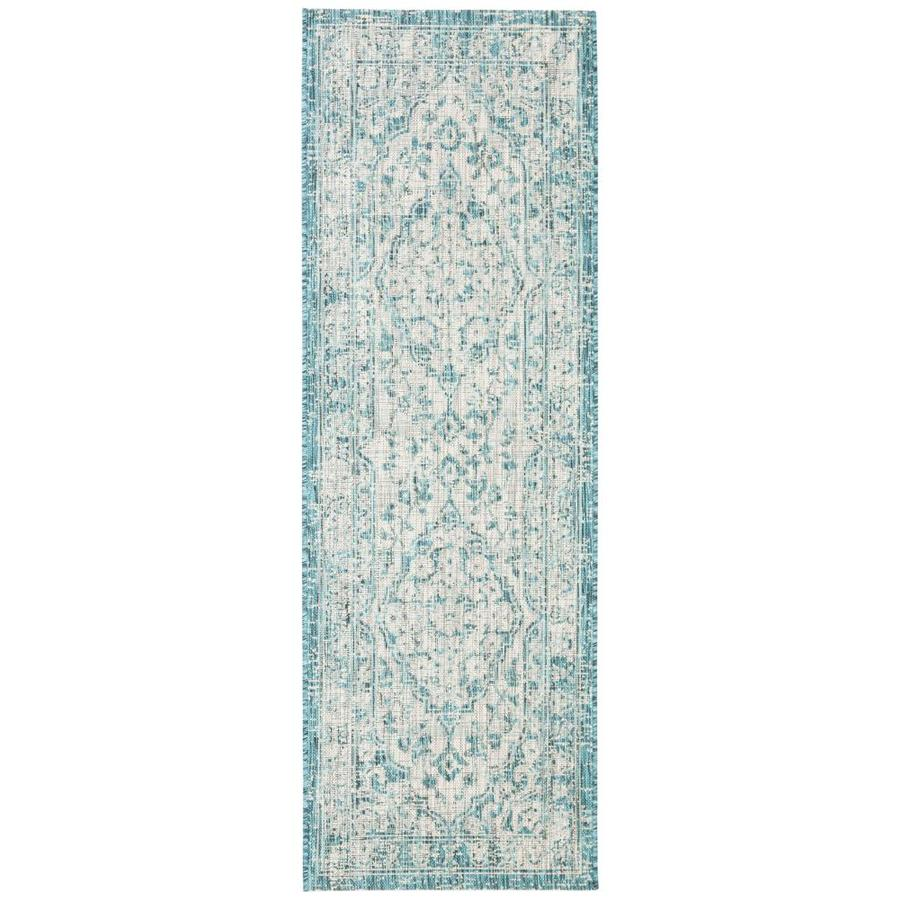 Safavieh Courtyard Argent 2 X 9 Gray Blue Indoor Outdoor Distressed Overdyed Coastal Runner In The Rugs Department At Lowes Com