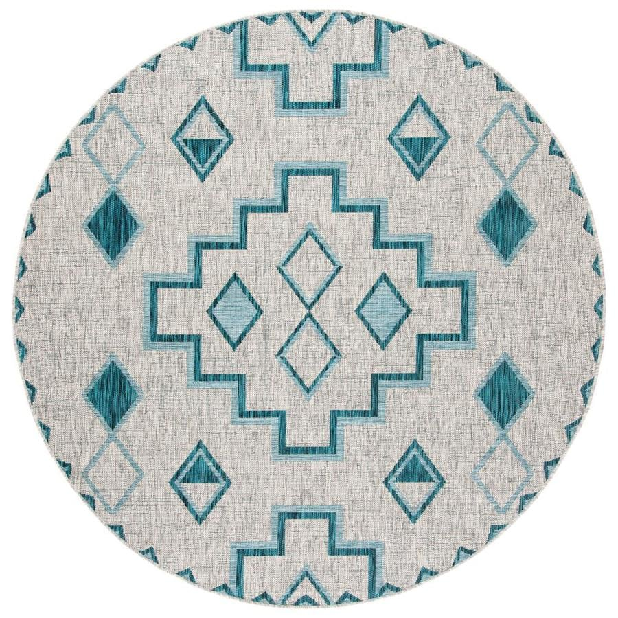 Safavieh Courtyard Tahoe 7 X 7 Gray Teal Round Indoor Outdoor Geometric Coastal Area Rug In The Rugs Department At Lowes Com