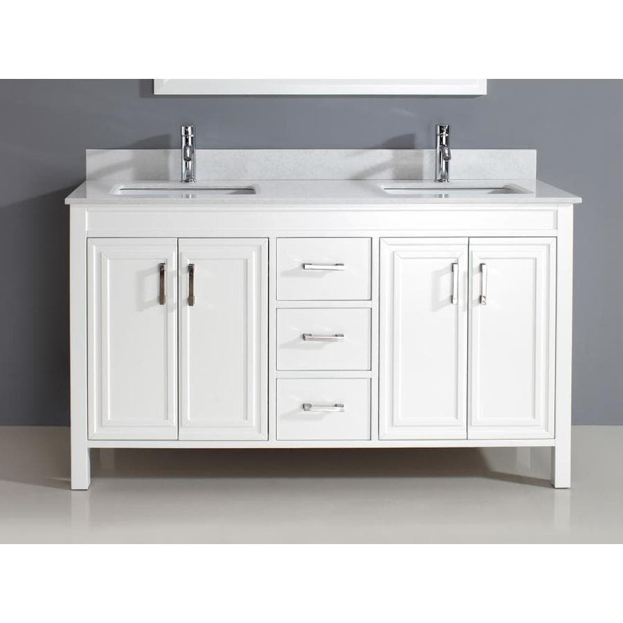 Spa Bathe Cora 60 In White Undermount Double Sink Bathroom Vanity With White With Grey Veins Engineered Stone Top In The Bathroom Vanities With Tops Department At Lowes Com