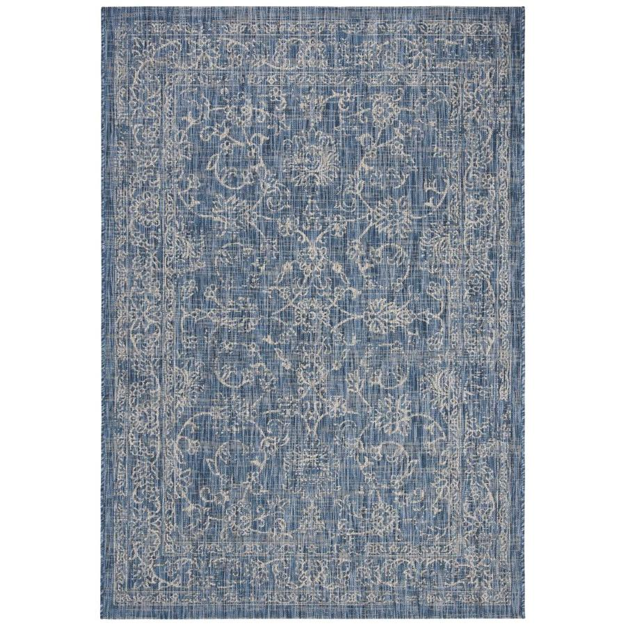 Safavieh Courtyard Providence 8 X 11 Navy Ivory Indoor Outdoor Distressed Overdyed Coastal Area Rug In The Rugs Department At Lowes Com