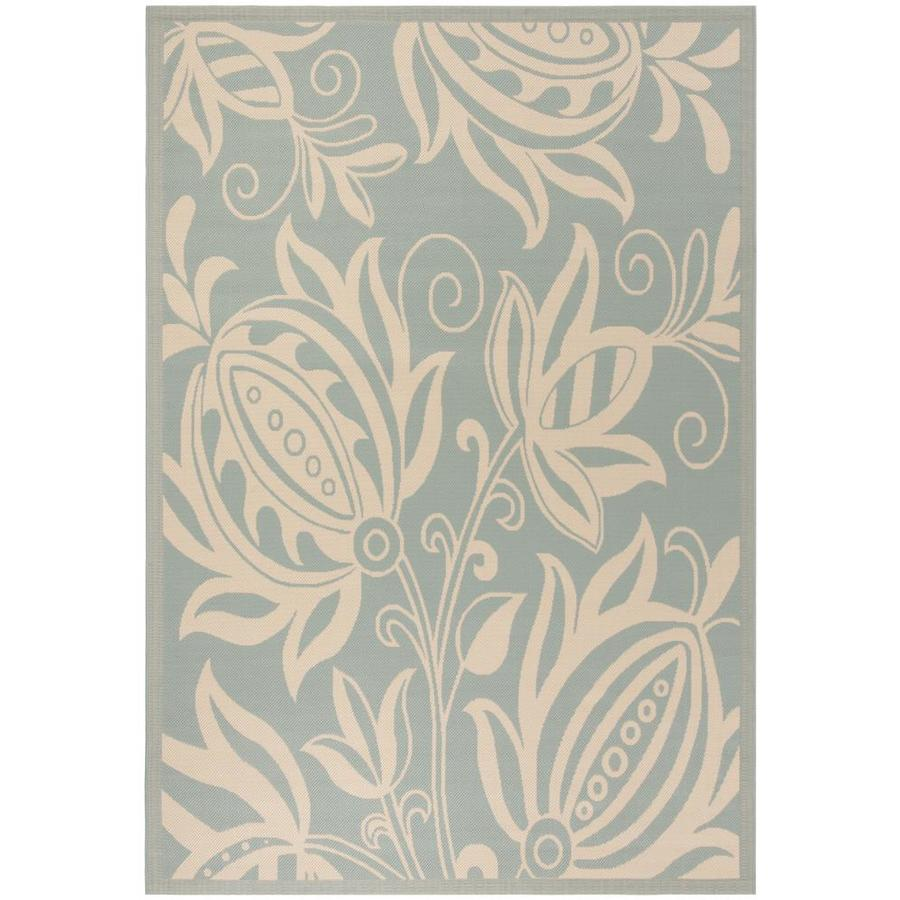 Safavieh Courtyard Joulter 5 X 8 Aqua Cream Indoor Outdoor Floral Botanical Coastal Area Rug In The Rugs Department At Lowes Com