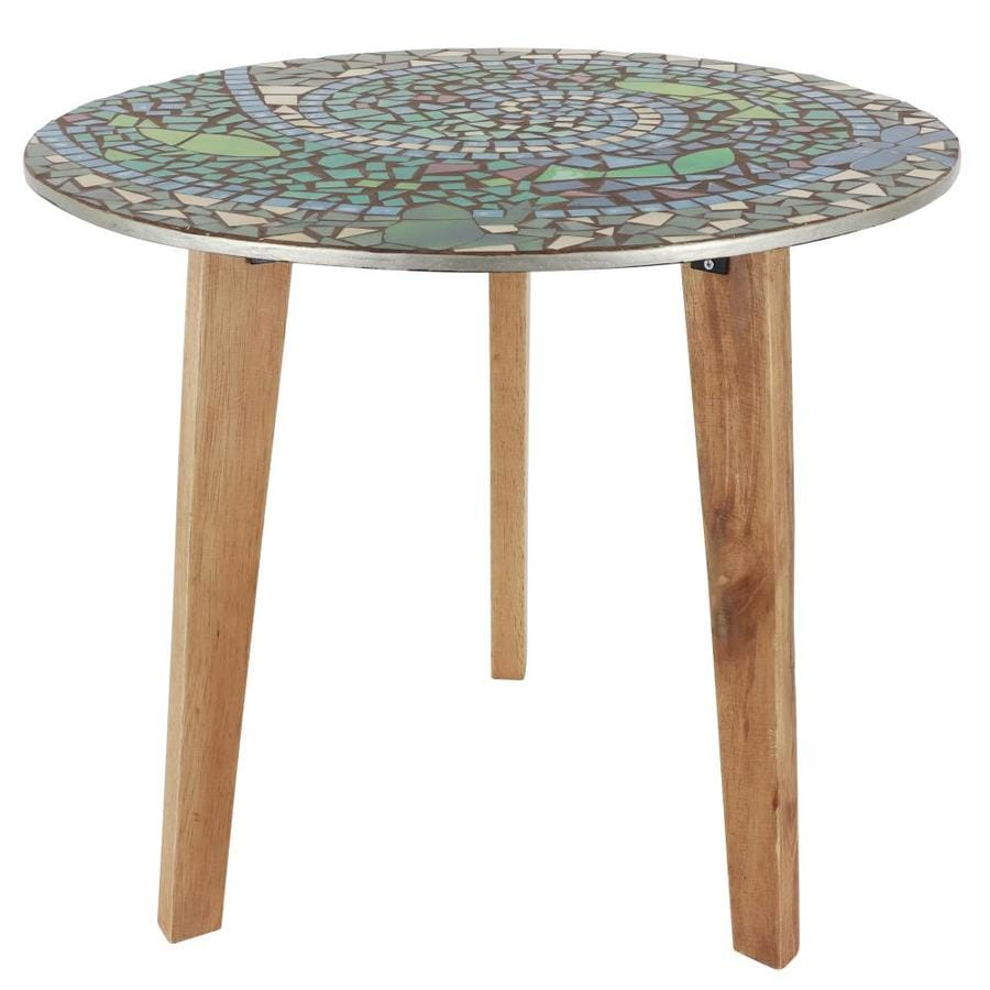 Decor Therapy Multi Colored Glass Round End Table In The End Tables Department At Lowes Com