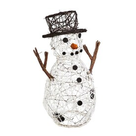 Alpine Corporation 30 In Snowman Sculpture With White Led Lights In The Outdoor Christmas Decorations Department At Lowes Com