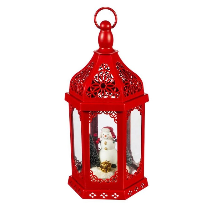 Evergreen 15 Inh Snowman Winter Scene Battery Operated Led Lantern Red In The Outdoor Christmas Decorations Department At Lowes Com