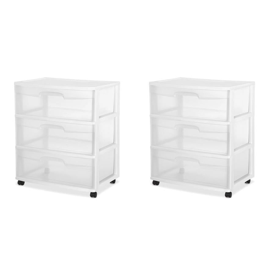 White 21.88 Inches, 2 Pack 29308001 Wide 3 Drawer Cart