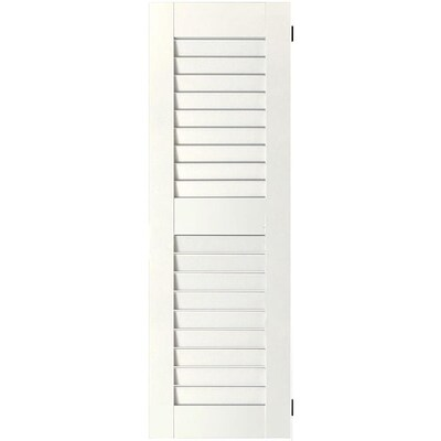Ekena Millwork 2 Pack 12 In W X 38 In H White Louvered Wood Pine Exterior Shutters In The Exterior Shutters Department At Lowes Com