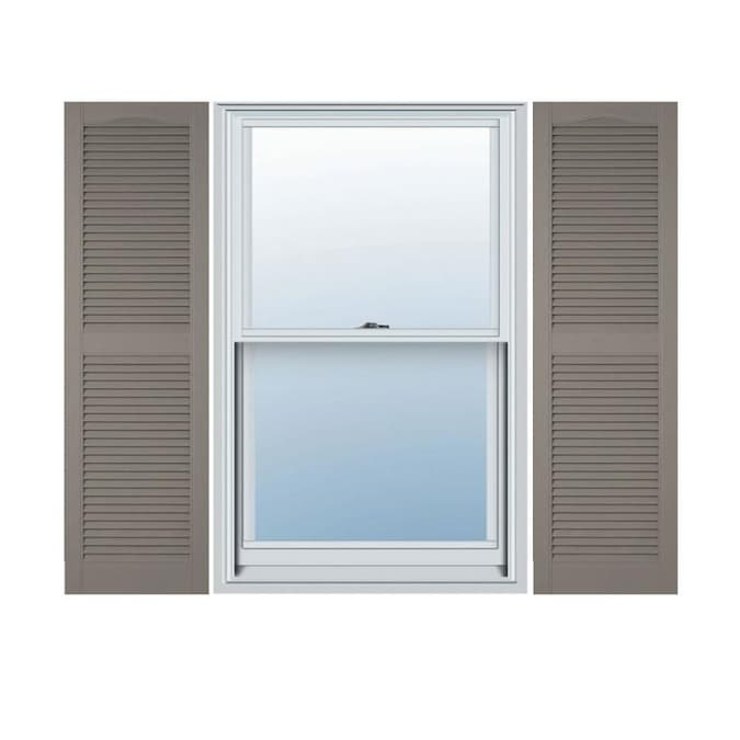 Ekena Millwork Lifetime Custom Cathedral Top Center Mullion 2 Pack 18 In W X 76 In H Clay Louvered Vinyl Exterior Shutters In The Exterior Shutters Department At Lowes Com
