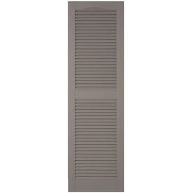 Ekena Millwork LL1S12X07500TG Lifetime Vinyl Standard Cathedral Top Center Mullion with Open Louver Shutters Tuxedo Grey 12 x 75