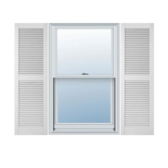 Ekena Millwork Lifetime Custom Straight Top Center Mullion 2 Pack 18 In W X 72 In H White Louvered Vinyl Exterior Shutters In The Exterior Shutters Department At Lowes Com