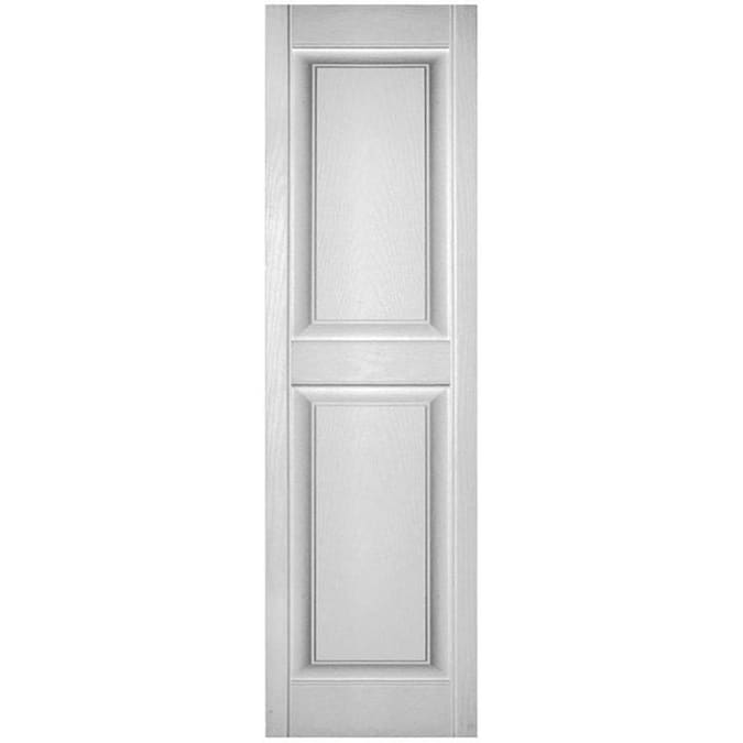 Ekena Millwork Lifetime Quickship Two Equal Panels 2 Pack 12 In W X 59 In H White Raised Panel Vinyl Exterior Shutters In The Exterior Shutters Department At Lowes Com
