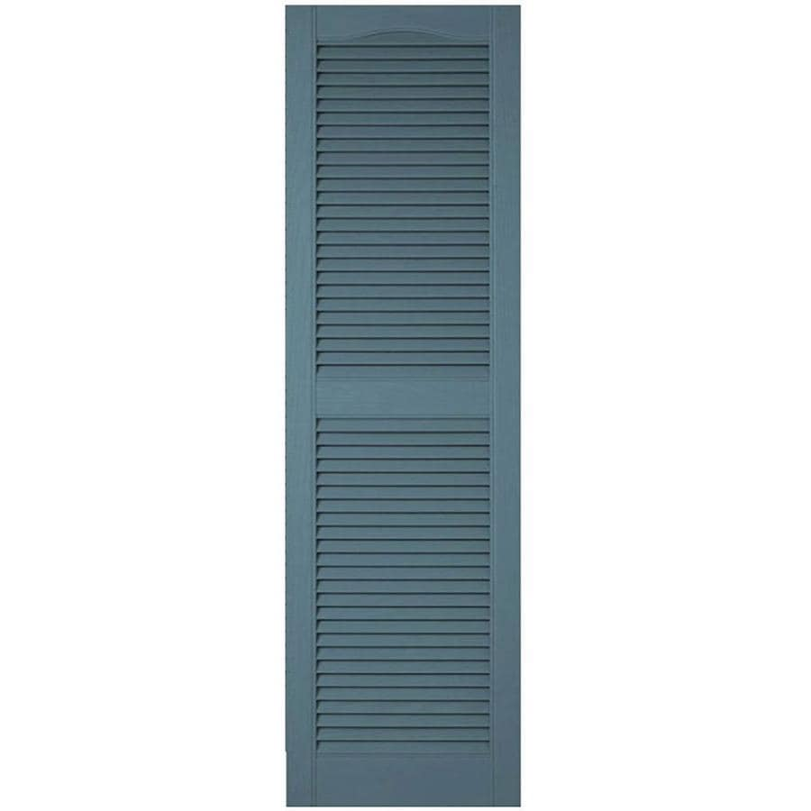 Ekena Millwork Lifetime Custom Cathedral Top Center Mullion 2 Pack 12 In W X 75 In H Wedgewood Blue Louvered Vinyl Exterior Shutters In The Exterior Shutters Department At Lowes Com