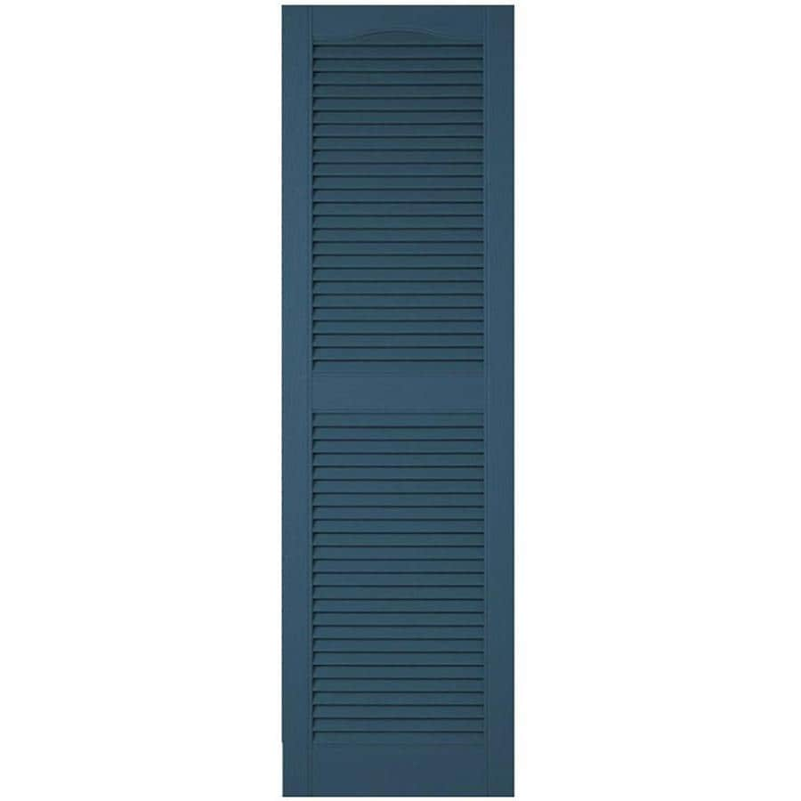 Ekena Millwork Lifetime Custom Cathedral Top Center Mullion 2 Pack 18 In W X 83 In H Classic Blue Louvered Vinyl Exterior Shutters In The Exterior Shutters Department At Lowes Com