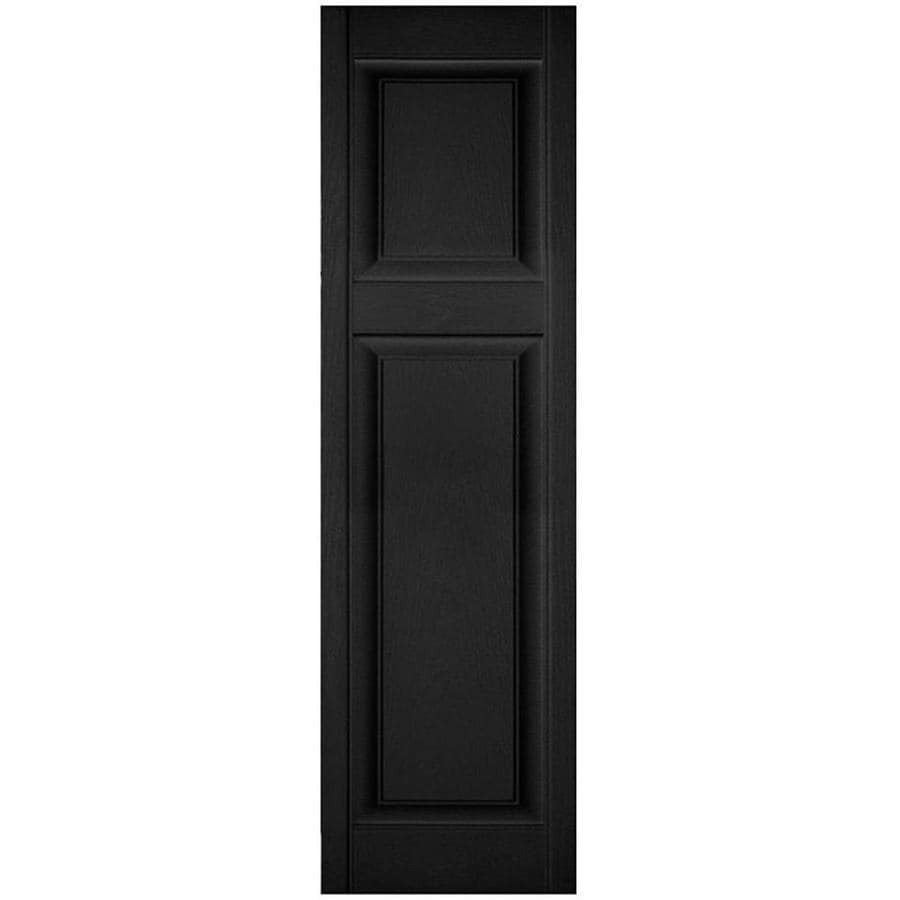 Ekena Millwork Lifetime Custom Offset Panel 2 Pack 18 In W X 60 In H Black Raised Panel Vinyl Exterior Shutters In The Exterior Shutters Department At Lowes Com